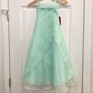 NWT Mint Green Beaded Organza Formal Dress